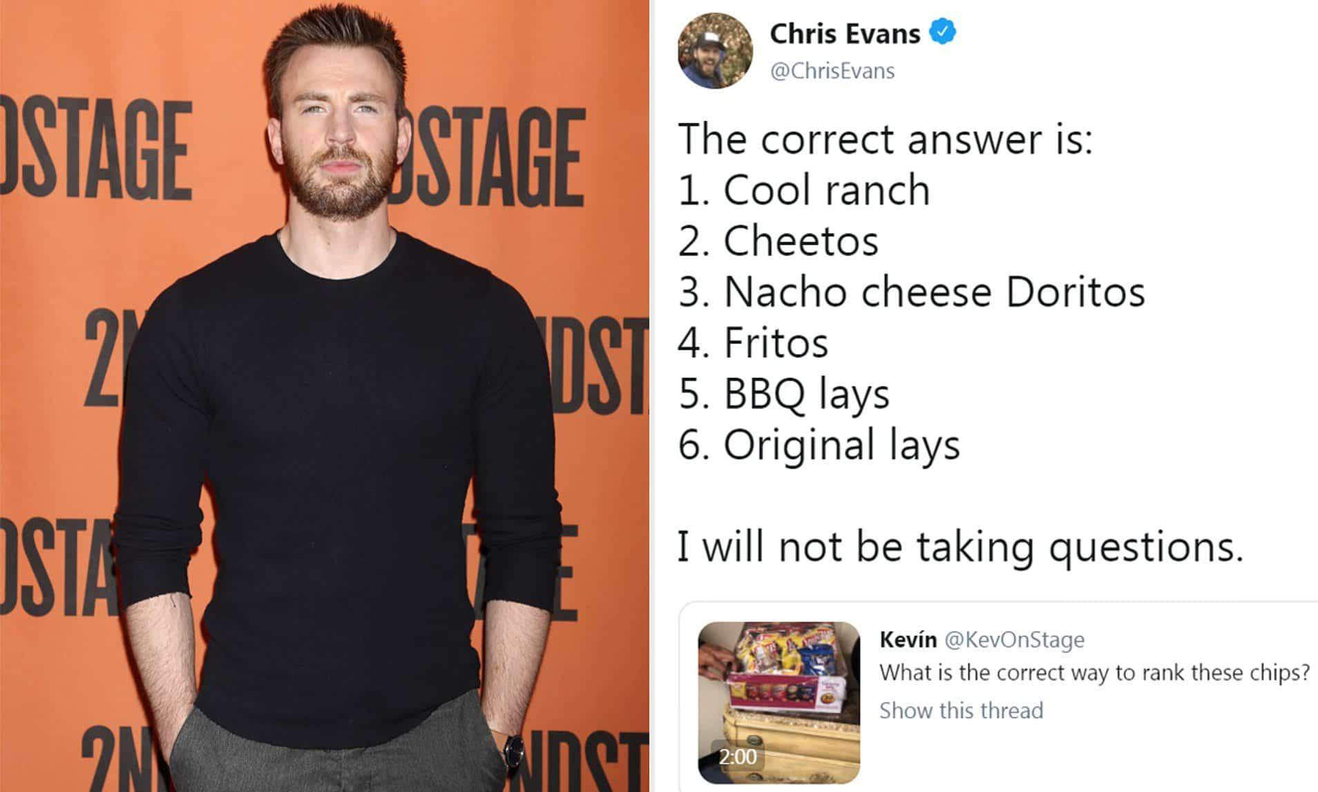 Chris Evans Favorite Crisps Brand
