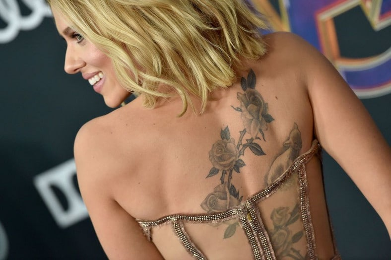 Scarlett Johansson New Back Tattoo Avengers End Game Premiere