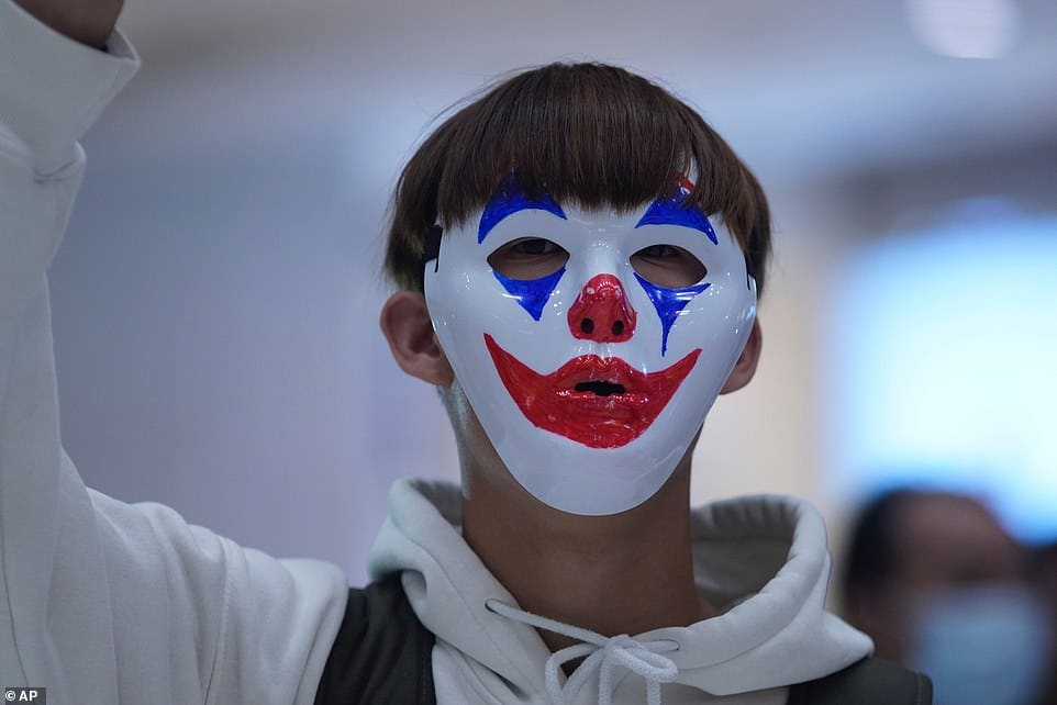 Hong Kong Activists Wear Joker and Winnie-the-Pooh Masks