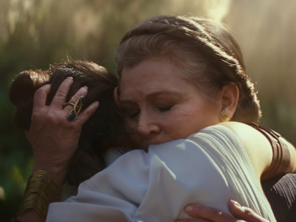 Carrie Fisher in The rise of the skywalker trailer. Pic courtesy: insider.com