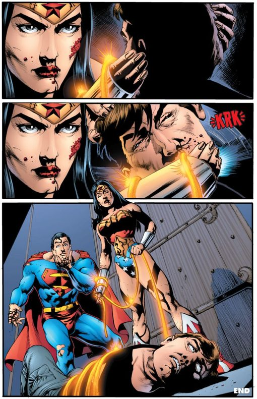 Diana originally snapped Maxwell Lord's neck for mind controlling superman. Pic courtesy: bleedingcool.com