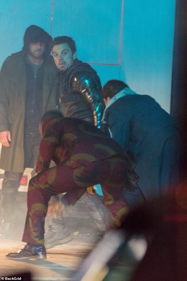 Yes that is Anthony Mackie's red suit clad ass. Also yes Sebastian Stan is there. Pic courtesy: dailymail.co.uk