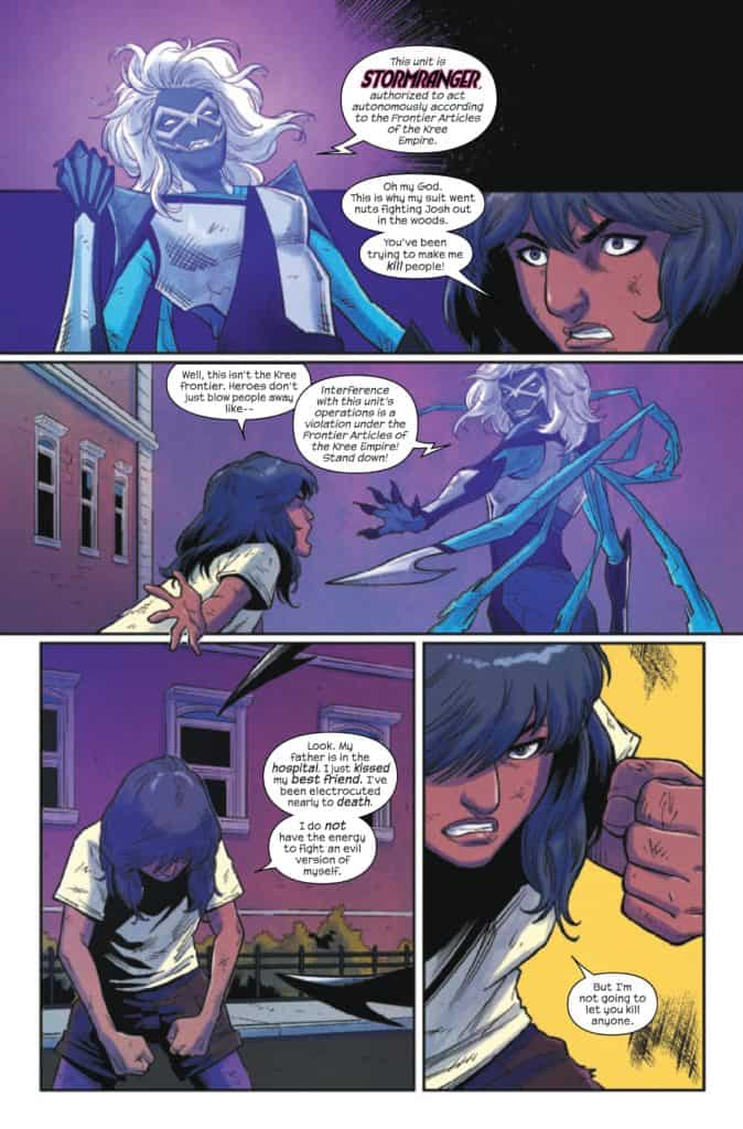 Ms. Marvel has to face her Stormranger suit just after she kissed her best friend. Now that's a predicament we don't want to be in. Pic courtesy: comic-watch.com