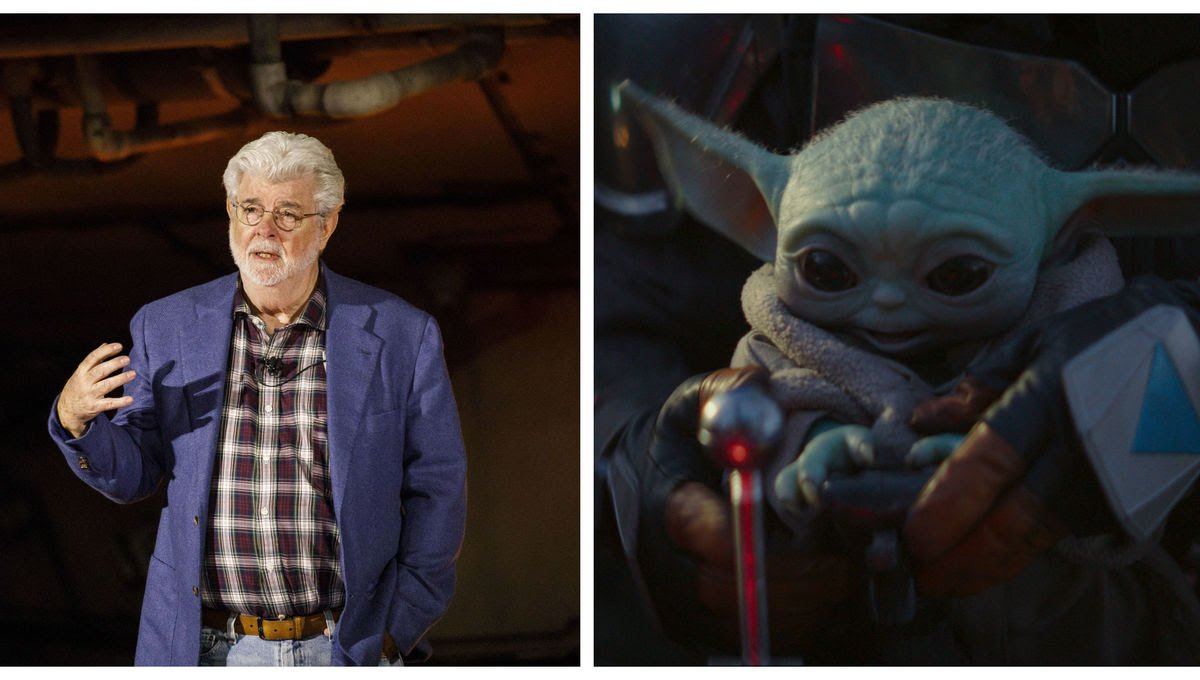George Lucas has met baby Yoda. Pic courtesy: syfy.com