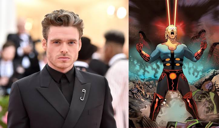 Richard Madden flies as Ikaris in London. Pic courtesy: criticalhit.com