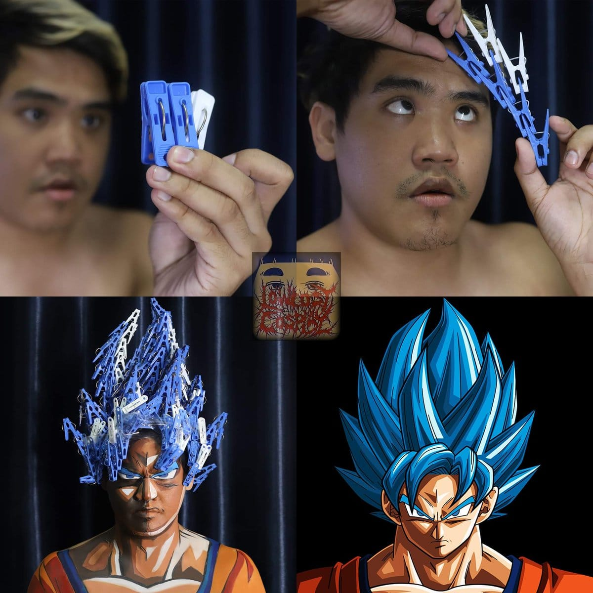 Lonelyman using his creativity to recreates the Super Saiyan Blue look.
