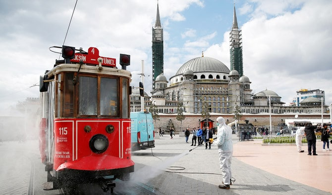 Turkish men sanitizing the city