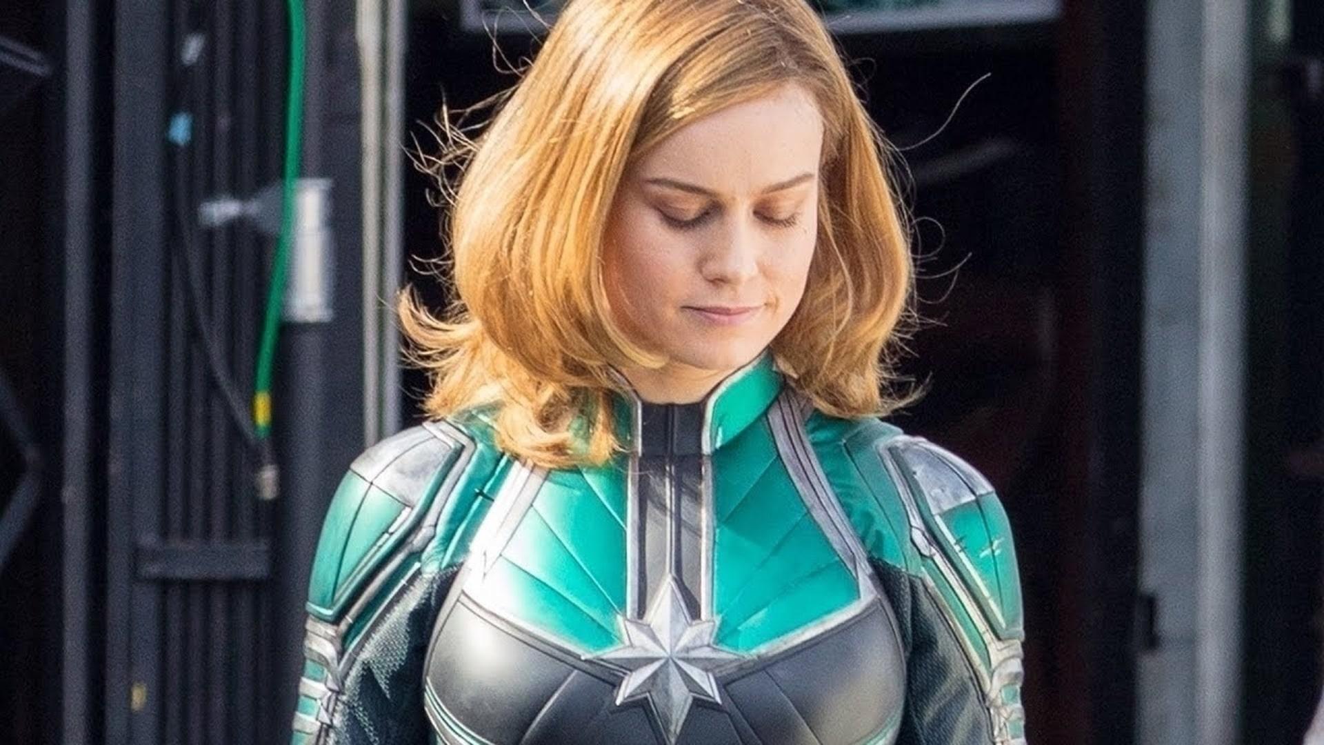 Captain Marvel's initial costume in teel
