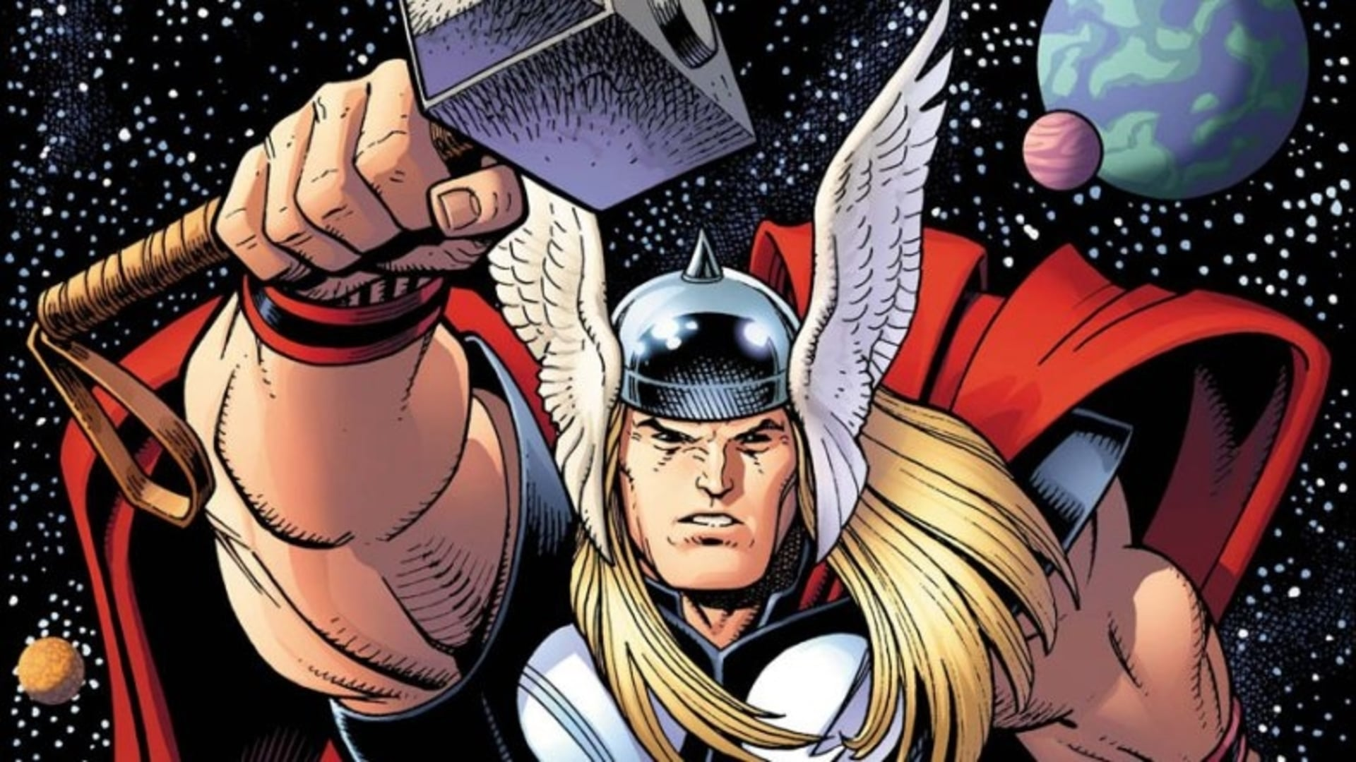 A still of Thor with his mighty Mjolnir