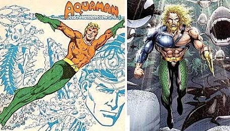 A comparison of original aqua man and the makeover