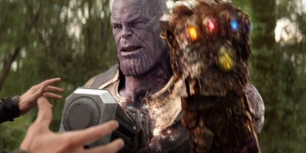 gauntlet melting in Thanos's hand