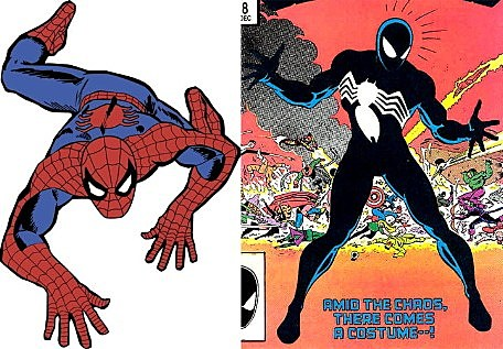 A comparison of the regular Spider-Man costume and his new costume