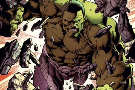 Hulk breaking through concrete