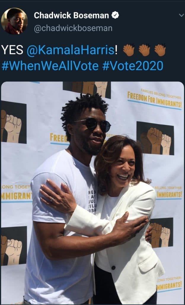 Chadwick Boseman tweets in support of Harris