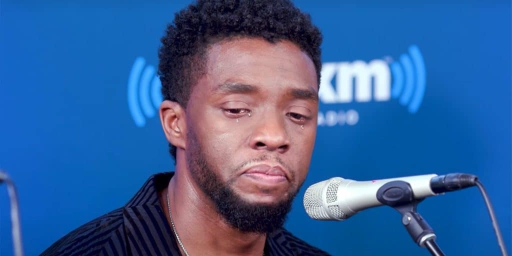 Boseman gets emotional during interview