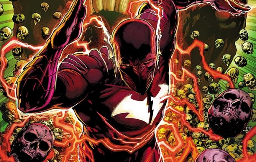 The Flash running in Red Death Costume
