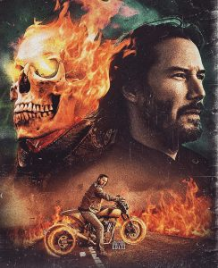 A presentation of How Keanu Reeves would look as Ghost Rider