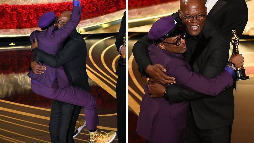 Spike Lee and Samuel L. Jackson hugging each other