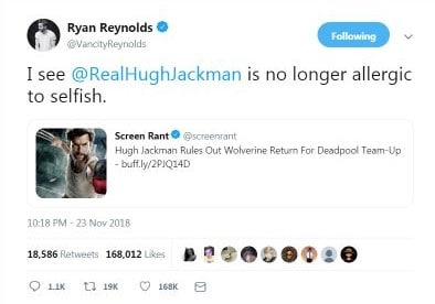 Reynolds and Jackman tweets
