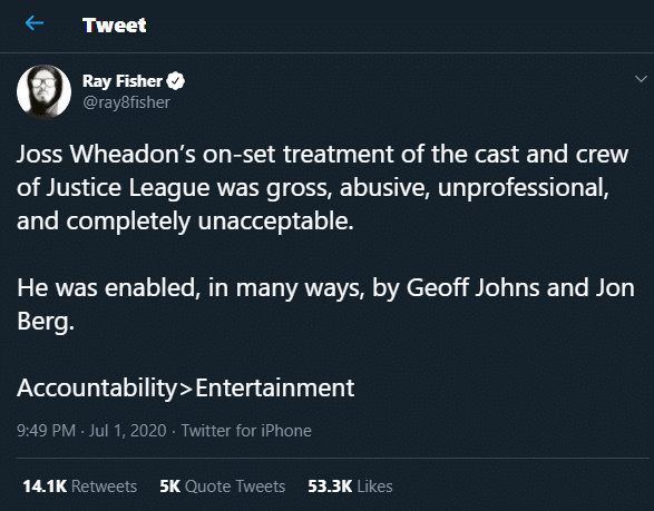 Ray Fisher tweets about Whedon's misconduct on set