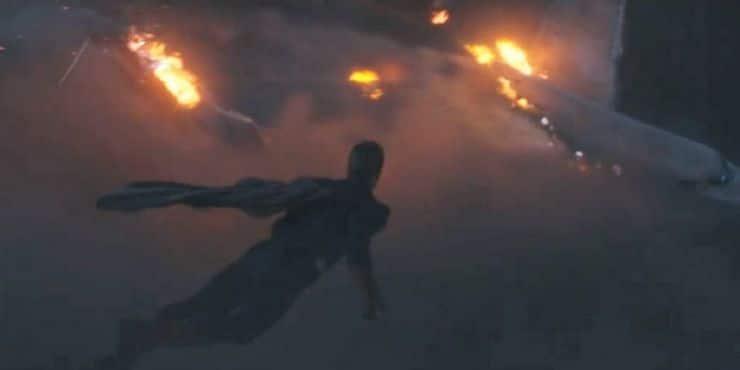 homelander flying at a battle scene
