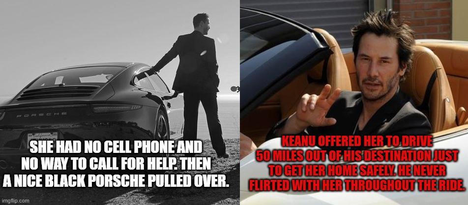 keanu reeves car broke down woman porsche