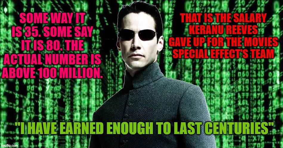 keanu reeves matrix salary