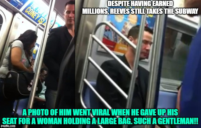 keanu reeves commutes subway woman seat