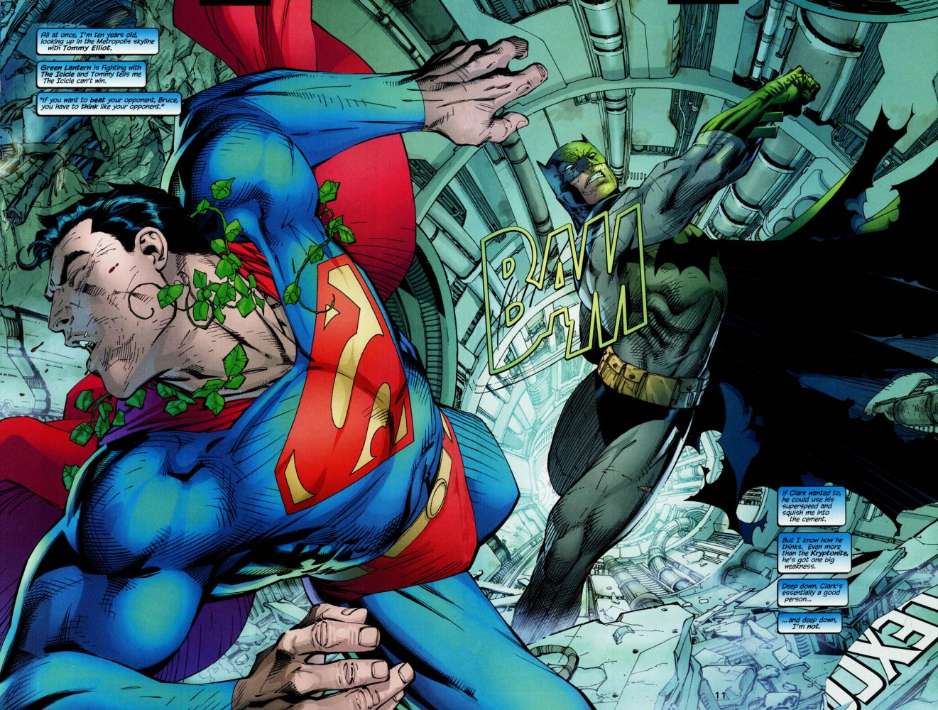 Batman punching Superman with Kryptonite Ring