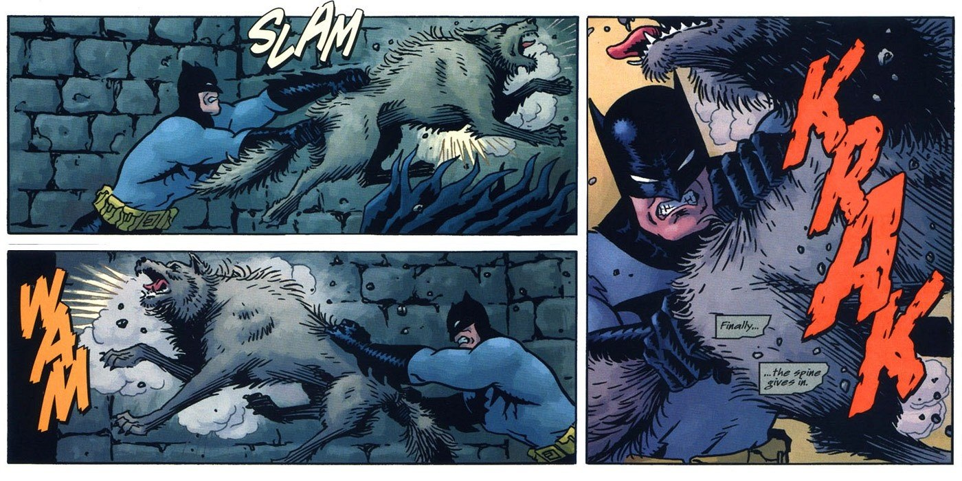 Batman snaps a wolf in half