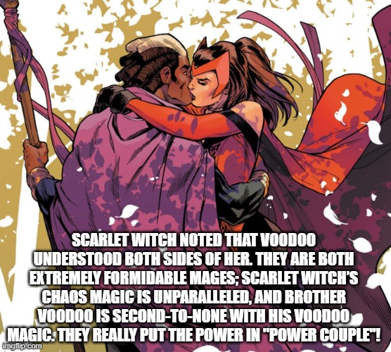 Scarlet Witch kissing Brother Voodoo