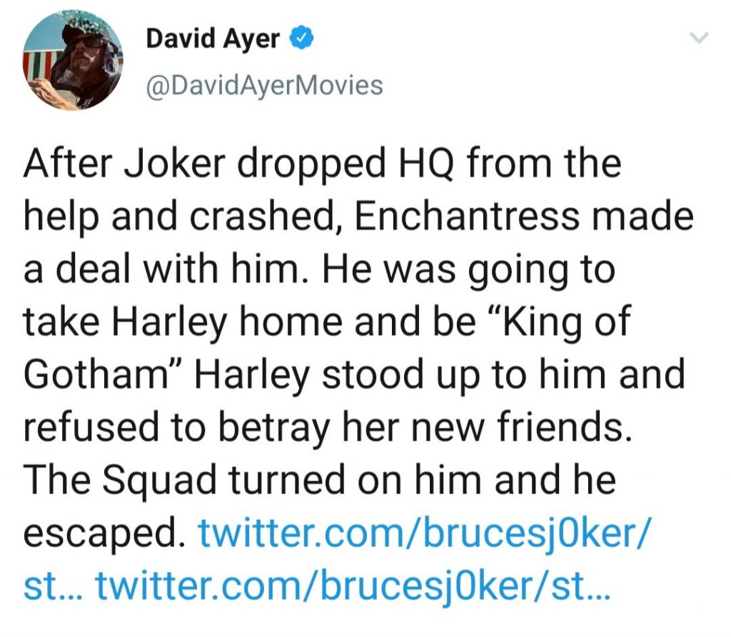 Ayer tweets about initial Joker and Enchantress alliance in Suicide Squad