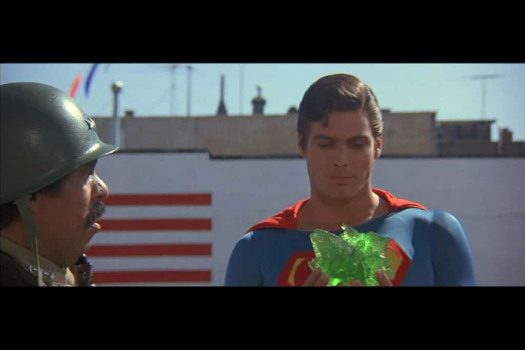 Superman holding synthetic kryptonite
