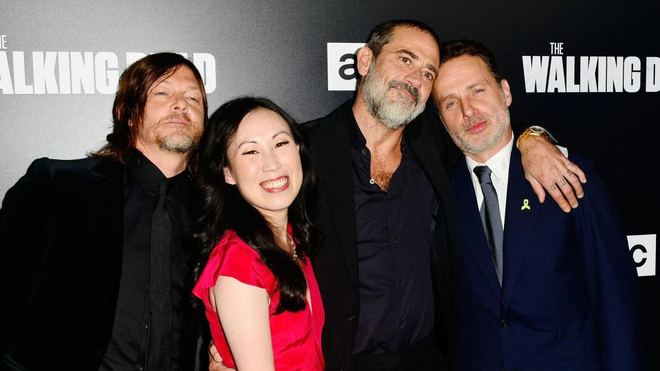 The Walking Dead showrunner Angela Kang with the cast