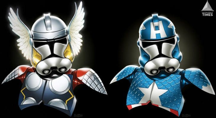 Stormtrooper as Captain America and Thor