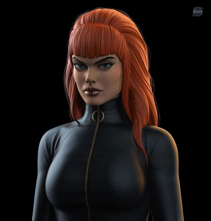 Black Widow reimagined as 70s character