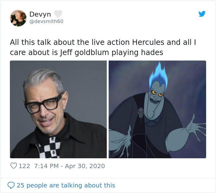 Jeff Goldblum and Hades tweet