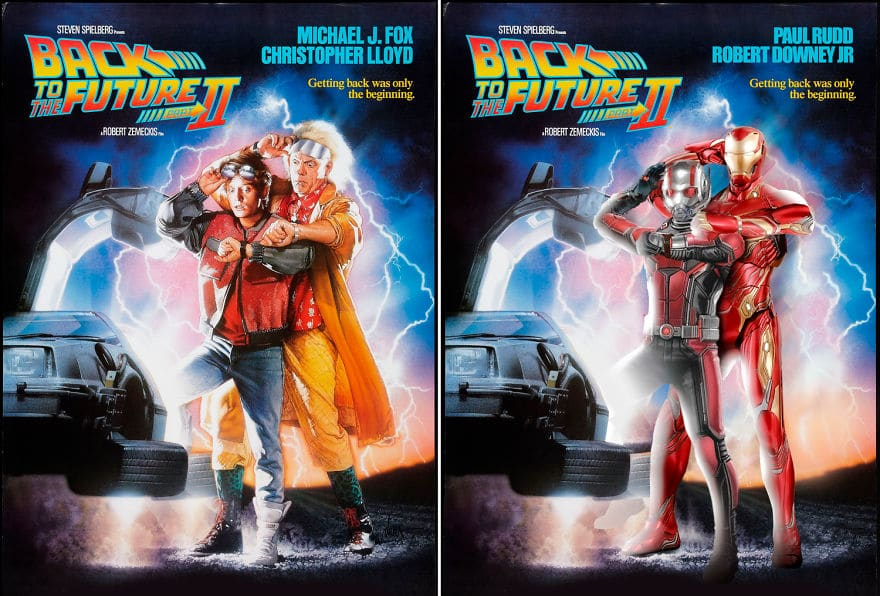 Ant Man and Iron man in Starring back to the future 2