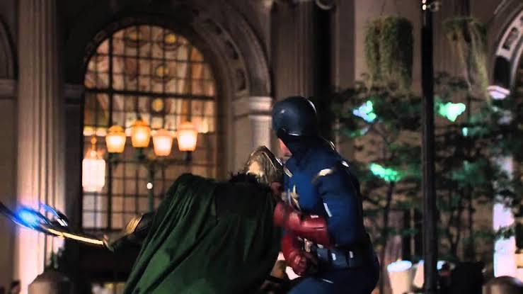 Captain America and Loki fight