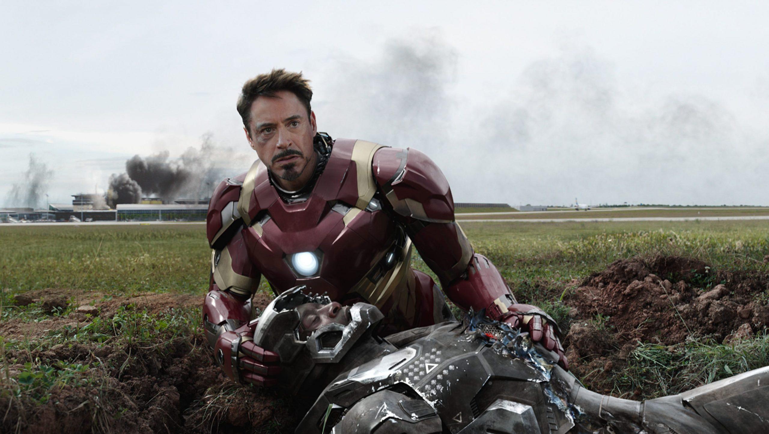 Robert Downey Jr's Iron Man in Captain American: Civil War.