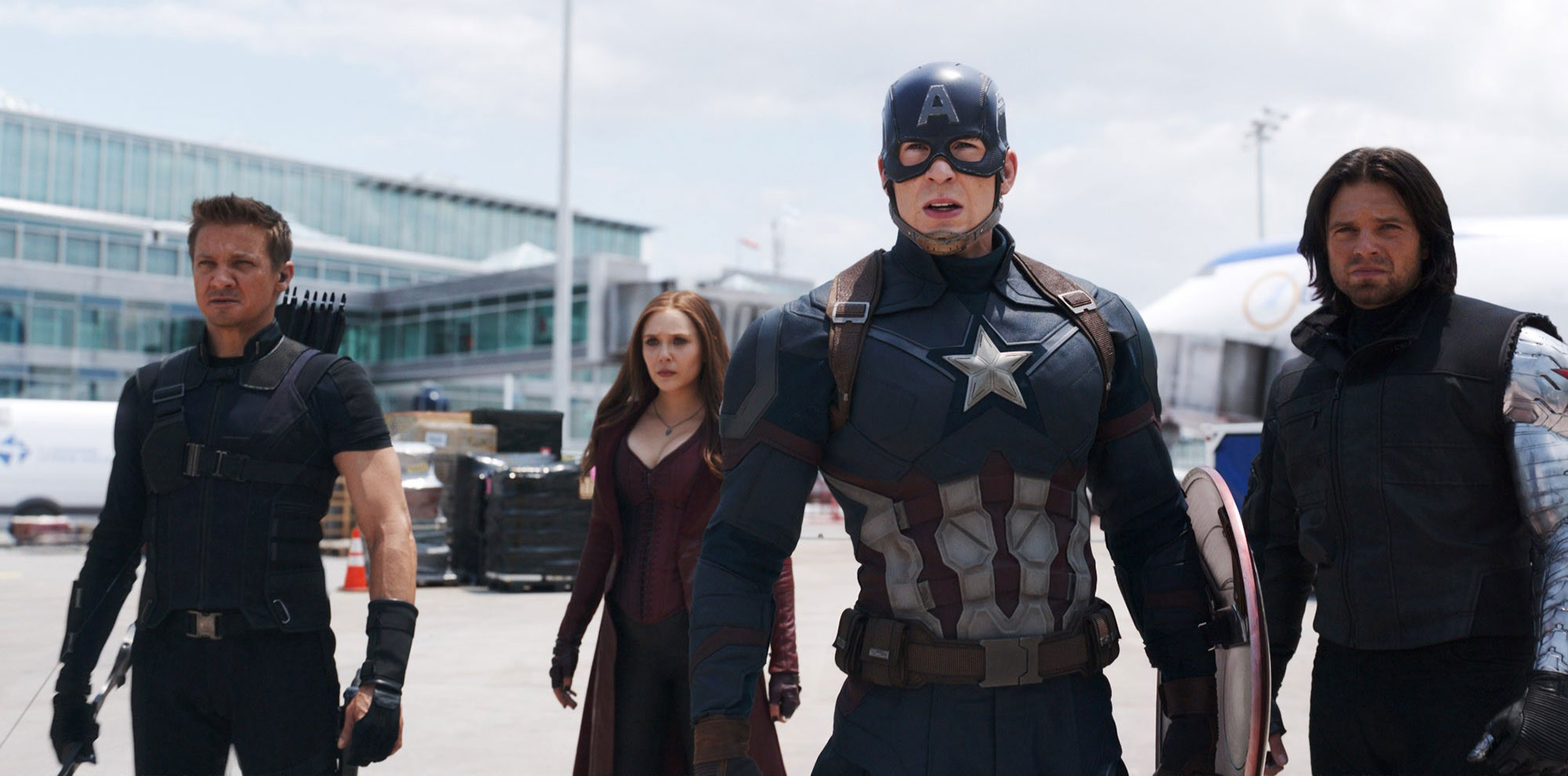 A still from Captain America: Civil War showcasing team Captain America